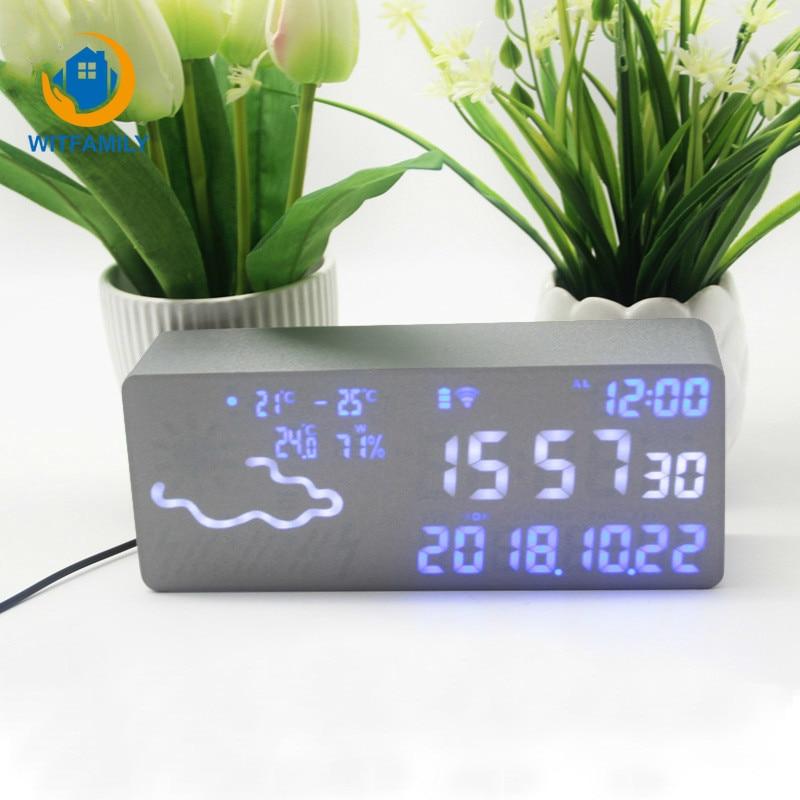 Réveil intelligent numérique électronique prévision météo commande vocale thermomètre hygromètre Wifi connexion Led silencieux Snooze - 1