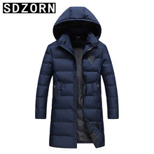 Mens Winter Jacket Hooded Long Parka Warm Padded Coat for Men 2019 New Fall Solid Outwear
