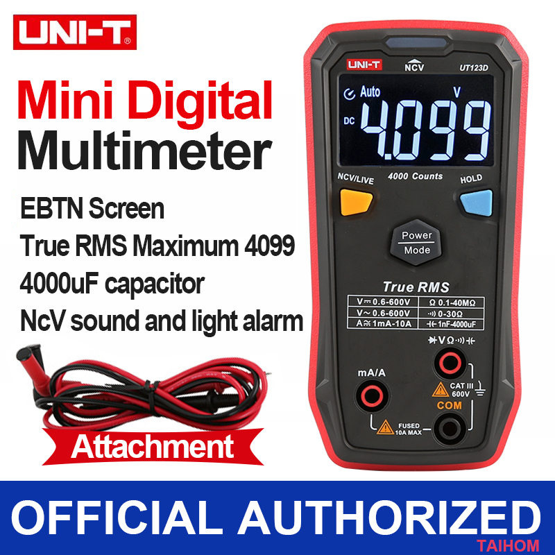 UNI T UT123D Digital Automatic Multimeter Smart ACDC NCV Resistance Diode Capacitor Tester Machine Capacitance Meter With Leads