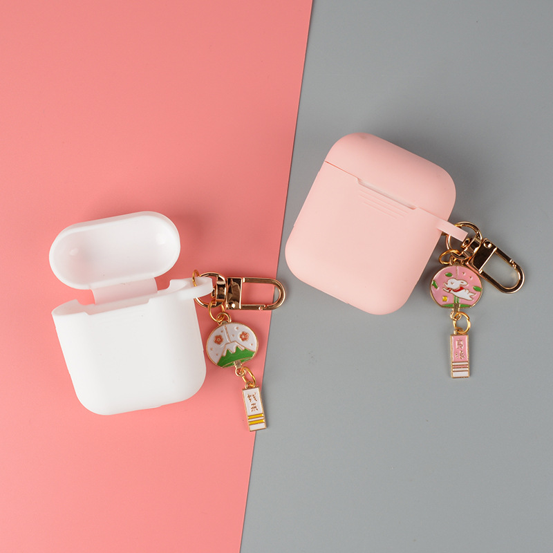 <font><b>AirPods</b></font> Silica Gel Wireless Earphone Set of Creative Anti-loss Pendant Bluetooth Wireless Earphone Dustproof Protection Box <font><b>Appl</b></font> image