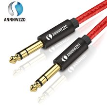 6.5 Mm Jack Audio Kabel Nilon Dikepang 6.35 Jack Male Kabel 1 M 2 M 3 M 5 M untuk Gitar Mixer Amplifier Bass 6.35 Mm(China)