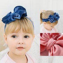 Headbands Hair-Accessories Baby-Girls Ribbon-Hair Princess Velvet Big Bow Winter Cute