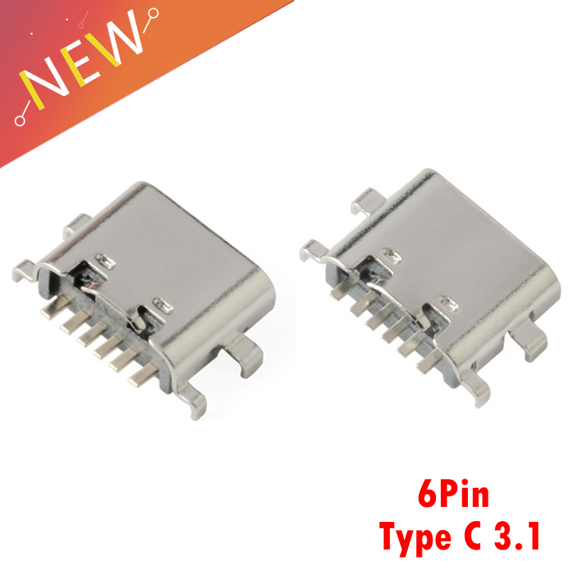 10Pcs Micro USB Connector Type C 3.1 <font><b>6</b></font> Pin SMT Socket Connector Female Placement <font><b>SMD</b></font> DIP For <font><b>PCB</b></font> design DIY high current chargin image