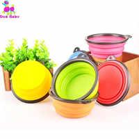 Reise Faltbare Silikon Haustiere Bowl Essen Wasser Fütterung BPA FREI Faltbare Tasse Teller Für Hunde Katze Hunde Napf