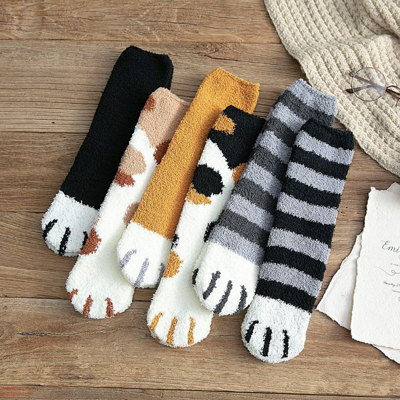 Women Winter Fluffy Fuzzy Warm Socks Looped Thicken Towel Crew Socks Cat Paw Printed Warm Cotton Hosiery