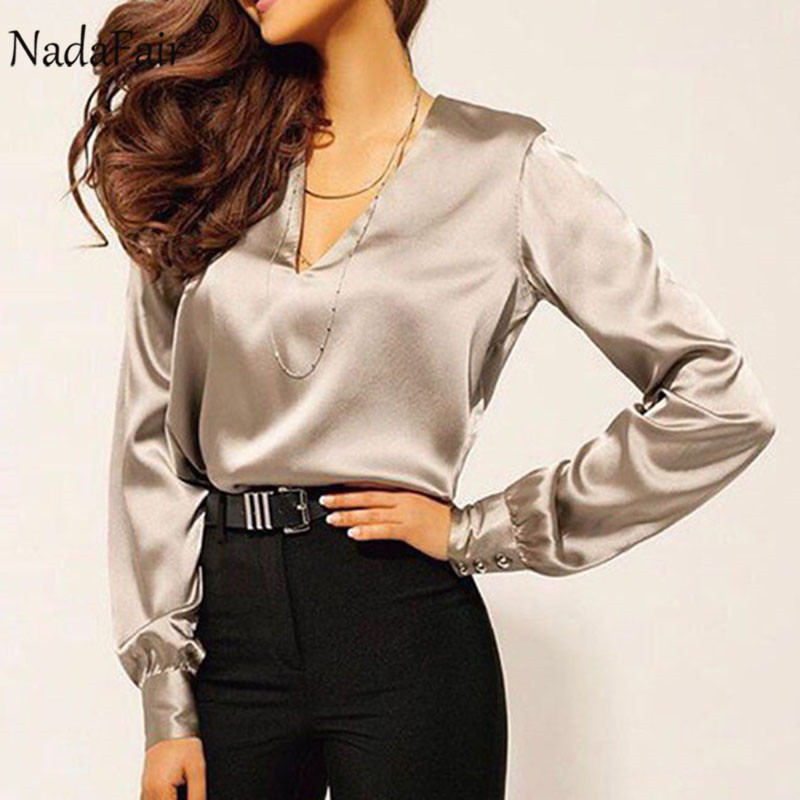Nadafair Plus Size Long Sleeve Satin   Blouse   Women 2019 Party Casual OL Office Elegant Silk   Blouse     Shirt   Ladies Tops