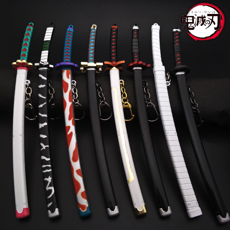 22cm Anime Demon Slayer Cosplay Props Kimetsu No Yaiba Kamado Tanjirou The Katana Weapon Wheel Sword With Sheath Keychain