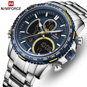 NAVIFORCE mężczyźni oglądać najlepsze luksusowe marki duża tarcza Sport zegarki męskie chronograf kwarcowy zegarek data mężczyzna zegar Relogio Masculino tanie i dobre opinie 24cm Moda casual Podwójny Wyświetlacz QUARTZ 3Bar Składane zapięcie z bezpieczeństwem Stop 17mm Hardlex Kwarcowe Zegarki Na Rękę