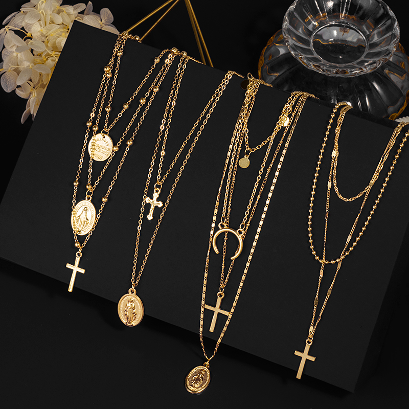 Fashion Multilayer Necklaces Pendants Vintage Moon Choker Cross Necklace For Women Female Party Punk Statement  Jewelry Bohemia