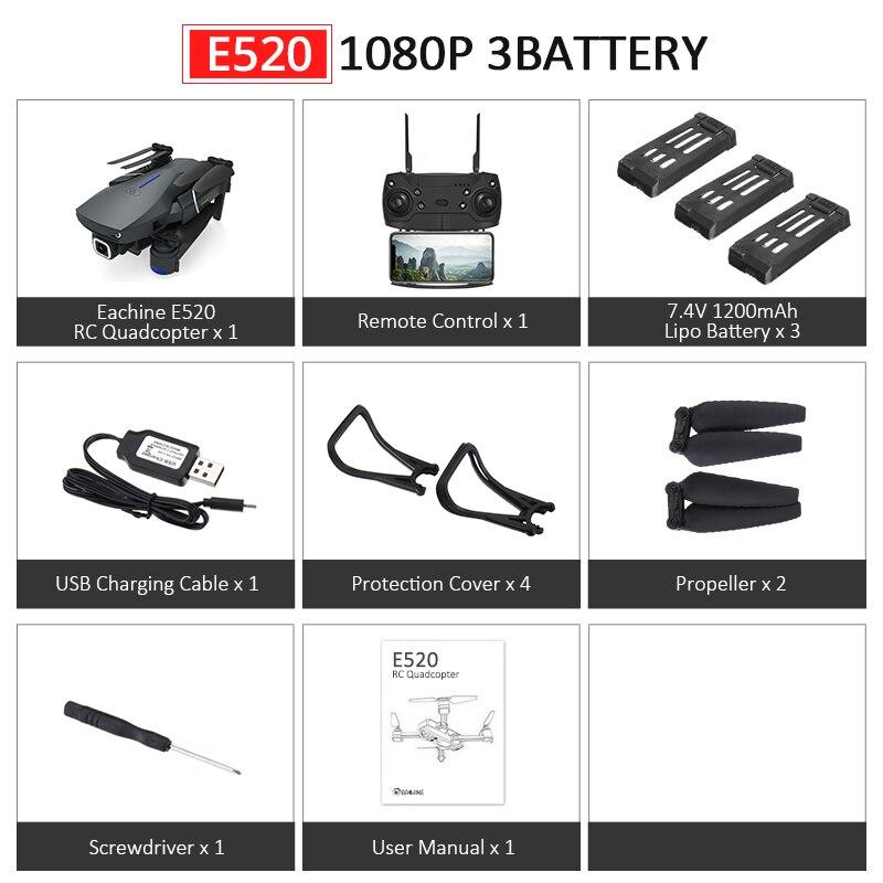 Eachine E520S E520 gps FOLLOW ME wifi FPV Квадрокоптер с 4 K/1080 P HD широкоугольная камера Складная Высота удержания прочный Радиоуправляемый Дрон - Цвет: E520 1080P 3B