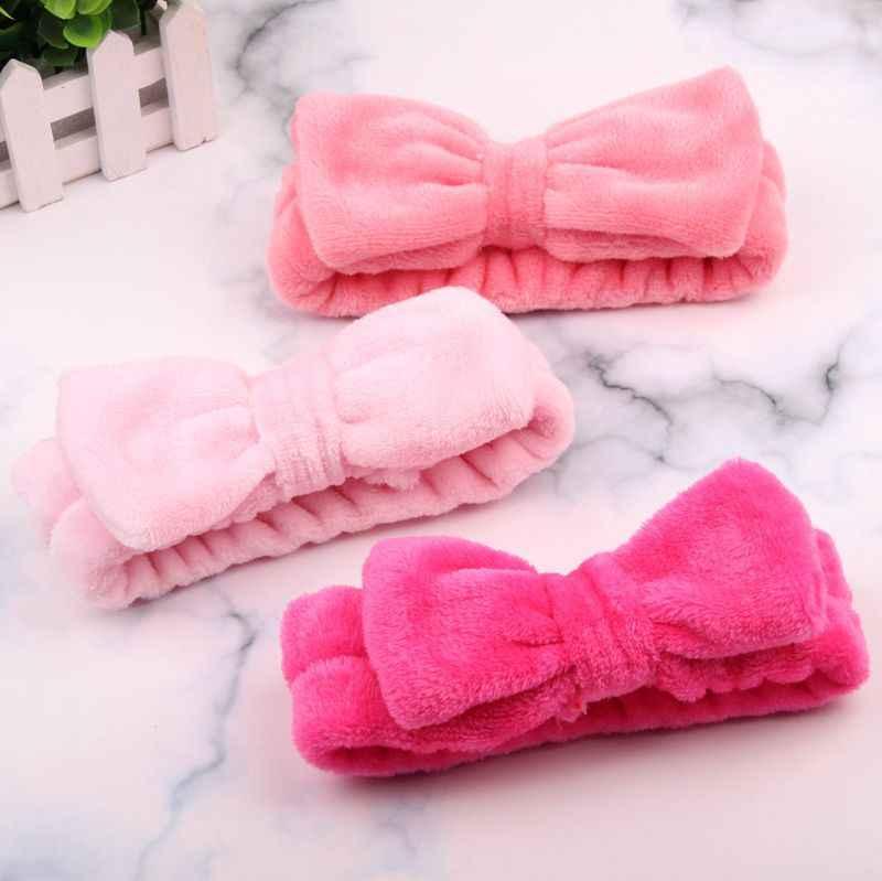 Cinta para el pelo de lazo de lana Coral de Color liso para lavarse la cara maquillaje, diademas suaves, moda para chicas, turbante, accesorios para el cabello para mujeres