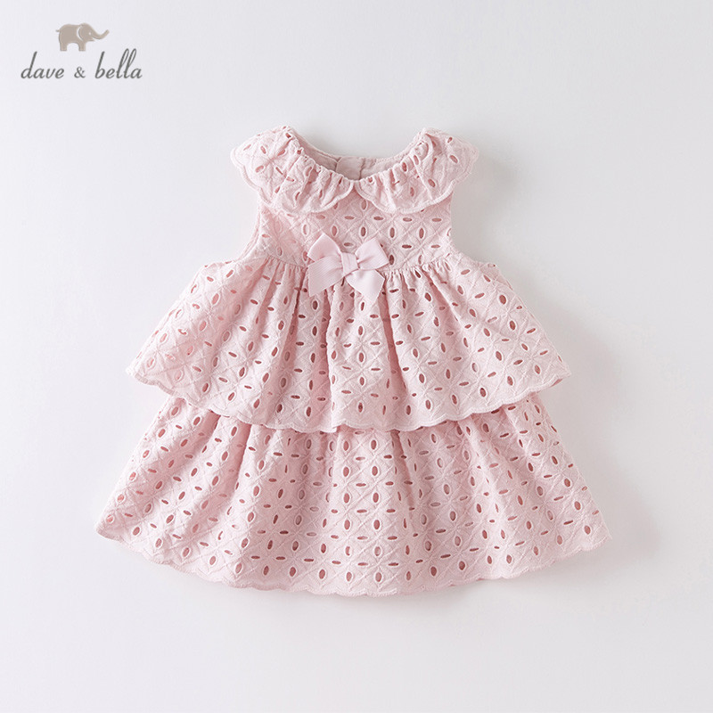 DBS13871 Dave Bella Summer Baby Girl's Cute Bow Draped Solid Dress Children Fashion Party Dress Kids Infant Lolita Clothes