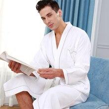 ผู้ชาย 100% Cotton Kimono ผ้าเช็ดตัวเสื้อคลุมอาบน้ำฤดูร้อน PLUS ขนาด Waffle Robe Mens Robes โรงแรมชุดนอนสำหรับสตรี Dressing ชุด