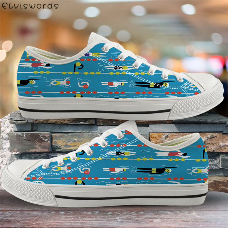 ELVISWORDS Canvas Spring Summer Vulcanize Shoes Cartoon Swimming Print Lightweight Low Top Flats For Youth Girls Comfort Zapatos