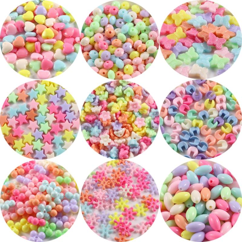 100/200 шт Многоцветный акриловый звезды сердце цветы бусины для детей для изготовления ювелирных изделий DIY браслеты ручной работы