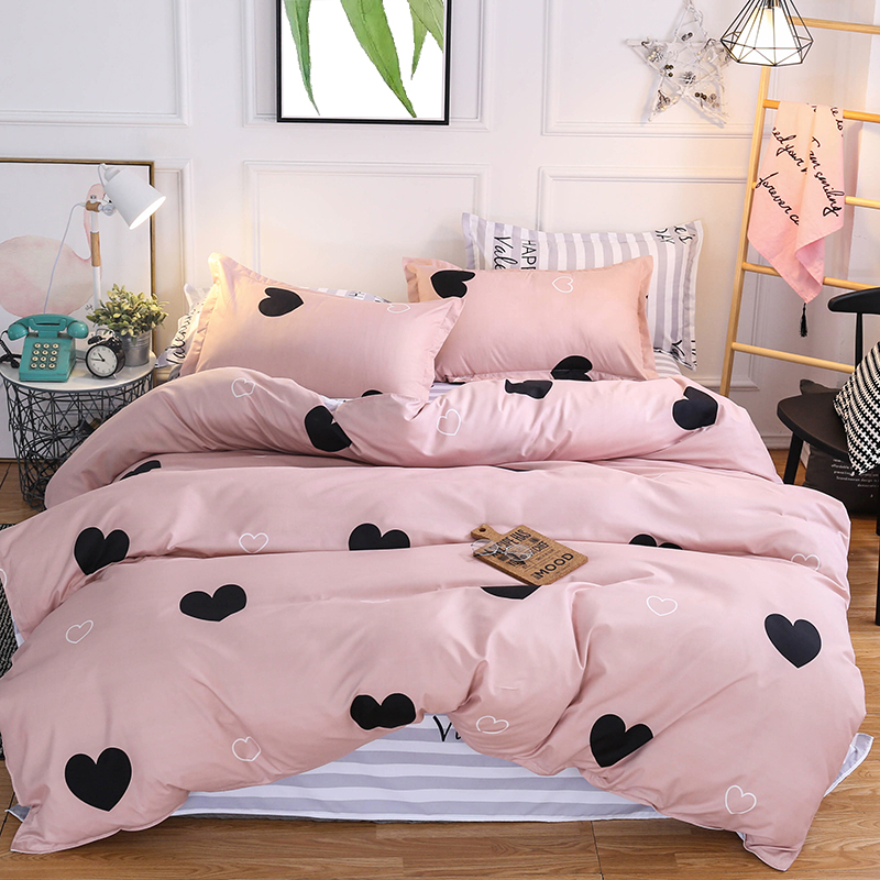 3/4pcs Pink Color Heart Printed Bed Linen Set Single Double Queen King Size Bedding Set Couple Bed Set Quilt Cover Bed Sheets