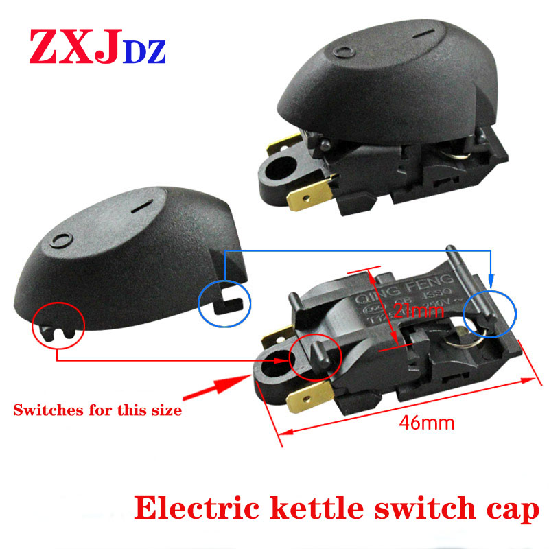 5 Pieces Electric Kettle Switch Cap Steam Switch Button Handle Button Special Accessories With Iron Ring Switch Black