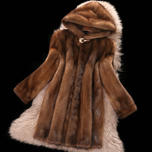 Coat Mink-Fur-Coats Brown Female Winter Plus-Size Women Hooded-Tops Thicken New 6XL Medium-Length