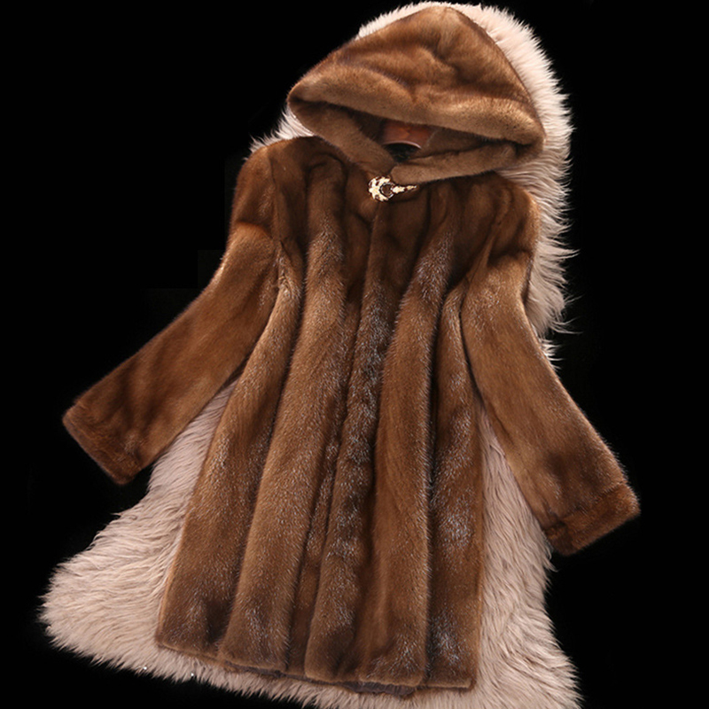 High <font><b>Faux</b></font> <font><b>Mink</b></font> <font><b>Fur</b></font> <font><b>Coat</b></font> Female 2019 New Plus Size 6XL Medium Length Winter Hooded Tops Women Thicken Brown <font><b>Mink</b></font> <font><b>Fur</b></font> <font><b>Coats</b></font> image