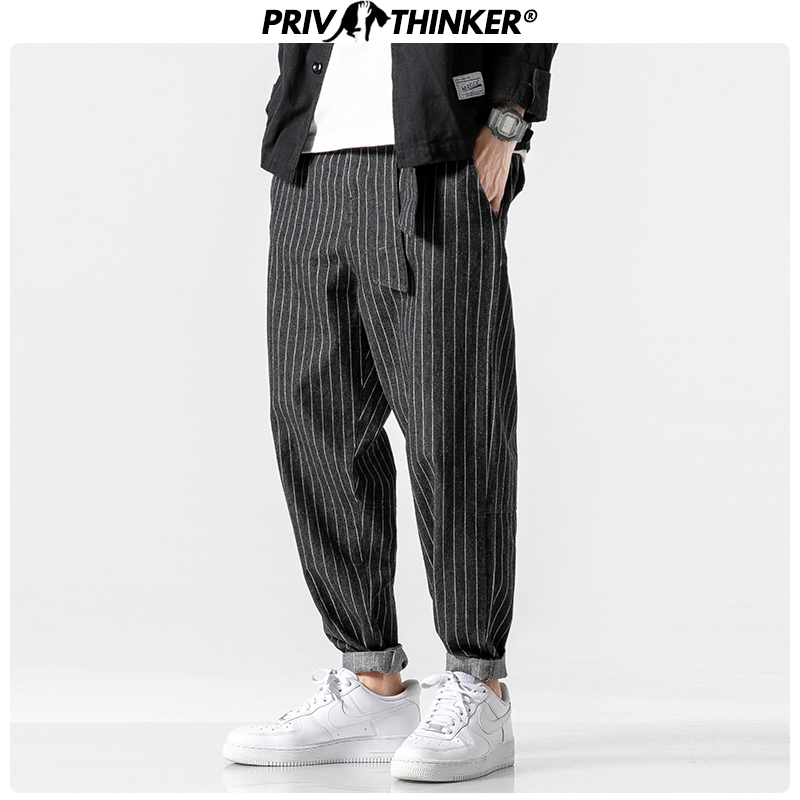 Privathinker Men's 2019 Streetwear Loose Denim Pants Men Autumn Winter Striped Oversize Harem Pants Male Fashion Pockets Jeans