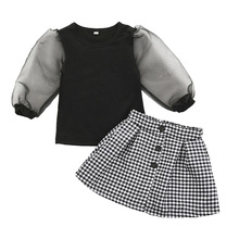 fashion girls summer full sleeve patchwork mesh tops T-Shirts plaid button skirts toddler k