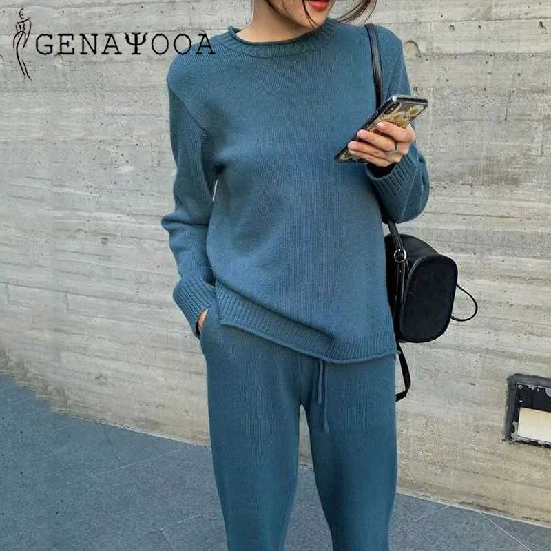 Genayooa Vintage Knitted Women Two Piece Suits Long Sleeve 2 Piece Set Women Causal Two Piece Set Top And Pants 2019 Winter