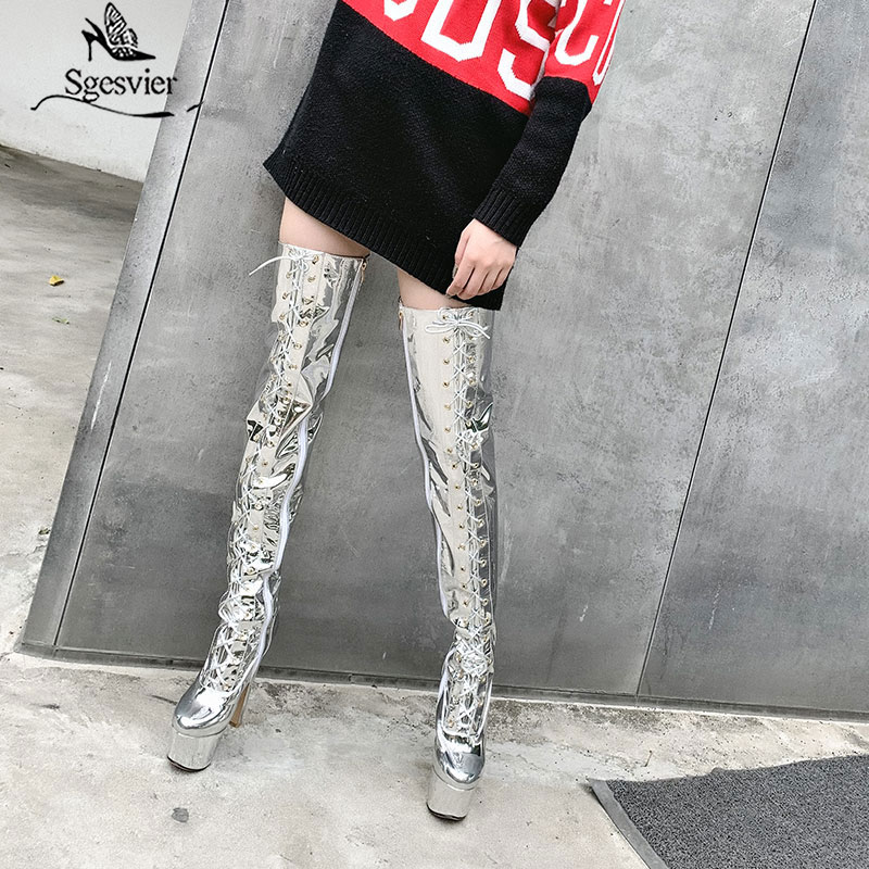 Sgesvier Super High Heels Platform Thigh High Boots Women Shiny Patent Leather Over The Knee Shoes Lace Up Zip Nightclub Botas