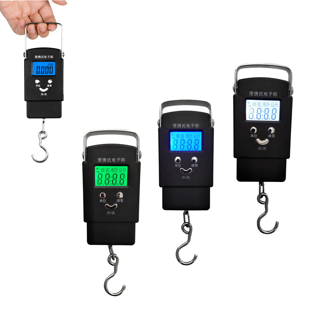 Portable LCD Electronic Balance Digital Fish Scales Hanging Hook Scale With Blue Green White Backlight Fishing Accessories