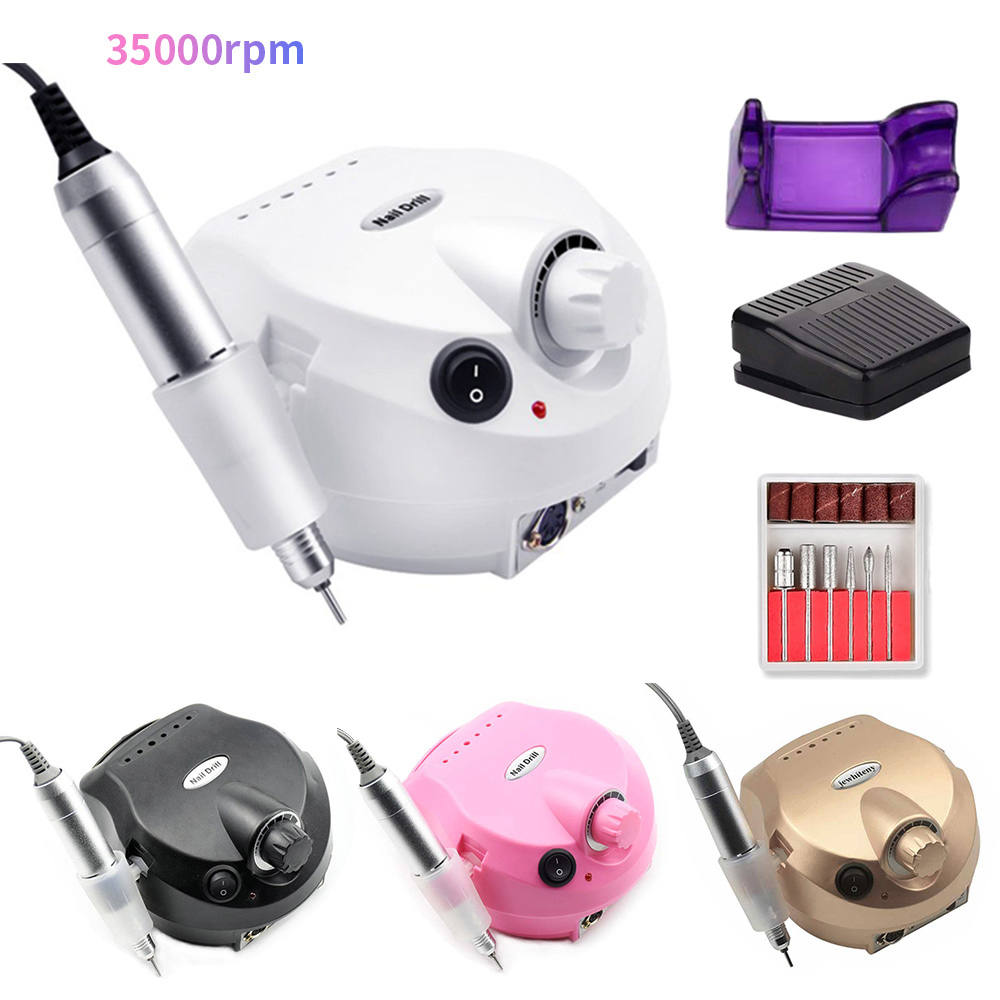 Electric-Nail-Drill-Machine Mill-Cutter Pedicure Nail-Tools Professional 35000rpm