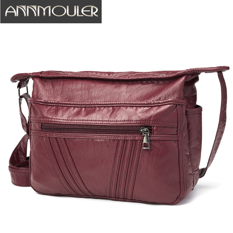 Soft Women Handbag Purse Wine PU Leather Shoulder Bag Pockets Crossbody Bag Adjustable Messenger Bag Large Capacity Tote Bags
