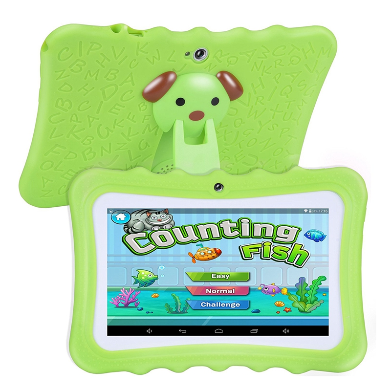 Upgrade Best Tablet For Kids, 7inch HD Display With Kid-proof Silicone Case (Quad Core, 8GB, Wifi & Bluetooth, Front & Rear Came