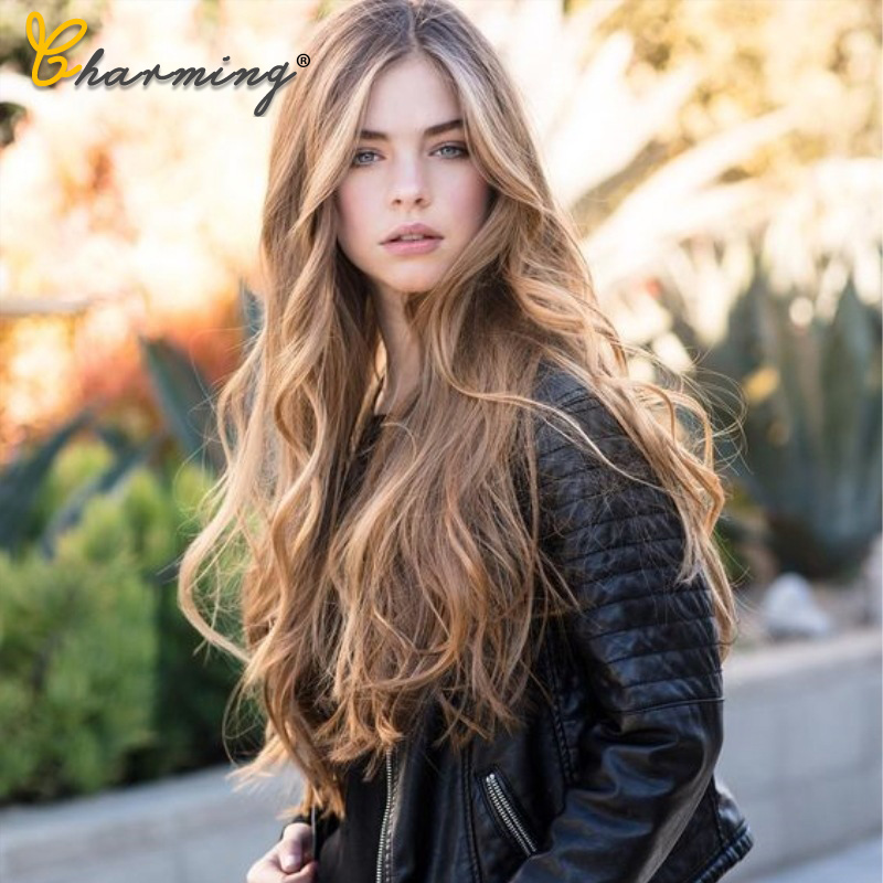 CHARMING Long Brown Wavy Wigs Cosplay Natural Synthetic Women' S Blonde Wig Heat Resistant Hair