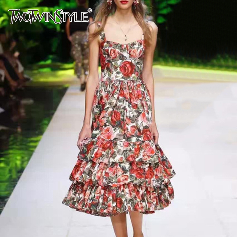 TWOTWINSTYLE Elegant Print Women Dress Square Collar Sleeveless Spaghetti Strap High Waist Ruched Hit Color Dresses Female Tide