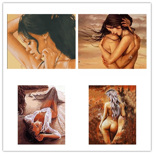 DIY Framed sleeping Beauty nude girl Oil Painting By Numbers Adults Colorful Paint Wall Art Picture for Living Room Home Decor
