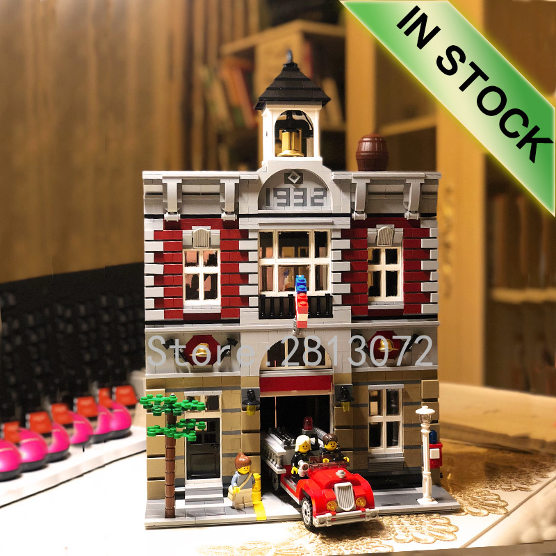 In Stock <font><b>10197</b></font> Creator Fire Brigade 15004 2859Pcs Street View Model Building Kits Blocks Bricks Education Toys image