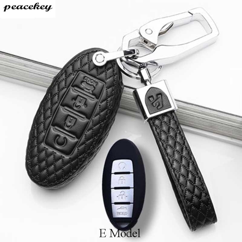 Echtes Leder Auto Schlüssel Fall Für Nissan Altima Maxima Infiniti EX FX G37 Q60 QX50 QX70 Smart Keyless Entry Remote fob Abdeckung