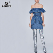 ROHOPO Ruffled Collar Skocking Waist Butterfly Hem Back Zipper Flu Denim Dess Ladies Solid Off Shoulder Mini Robe #2420