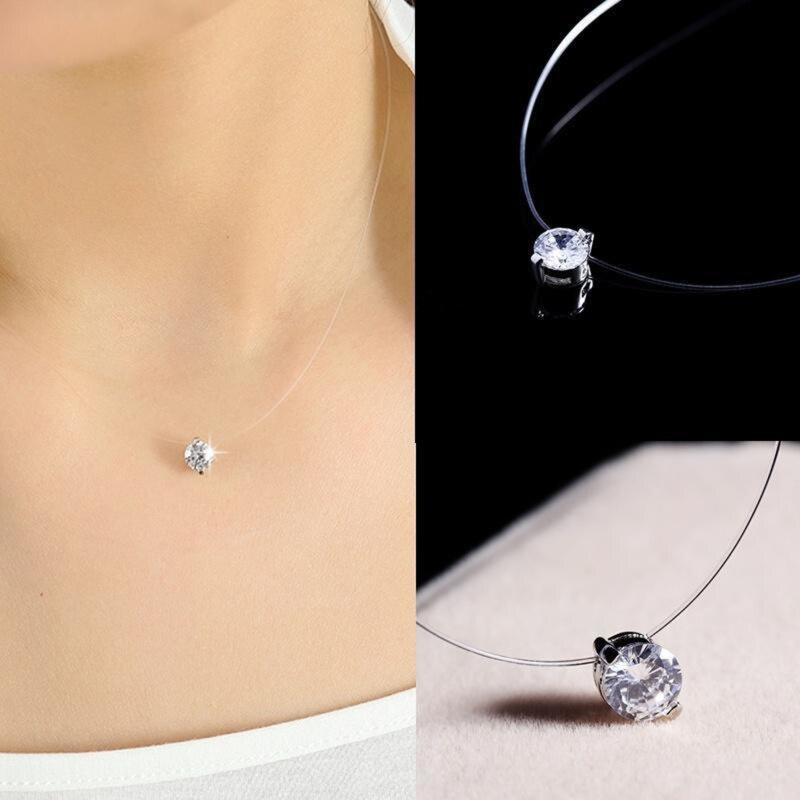 Женский чокер с невидимой леской, ожерелье с подвеской из кристалла, циркониевая цепочка до ключиц