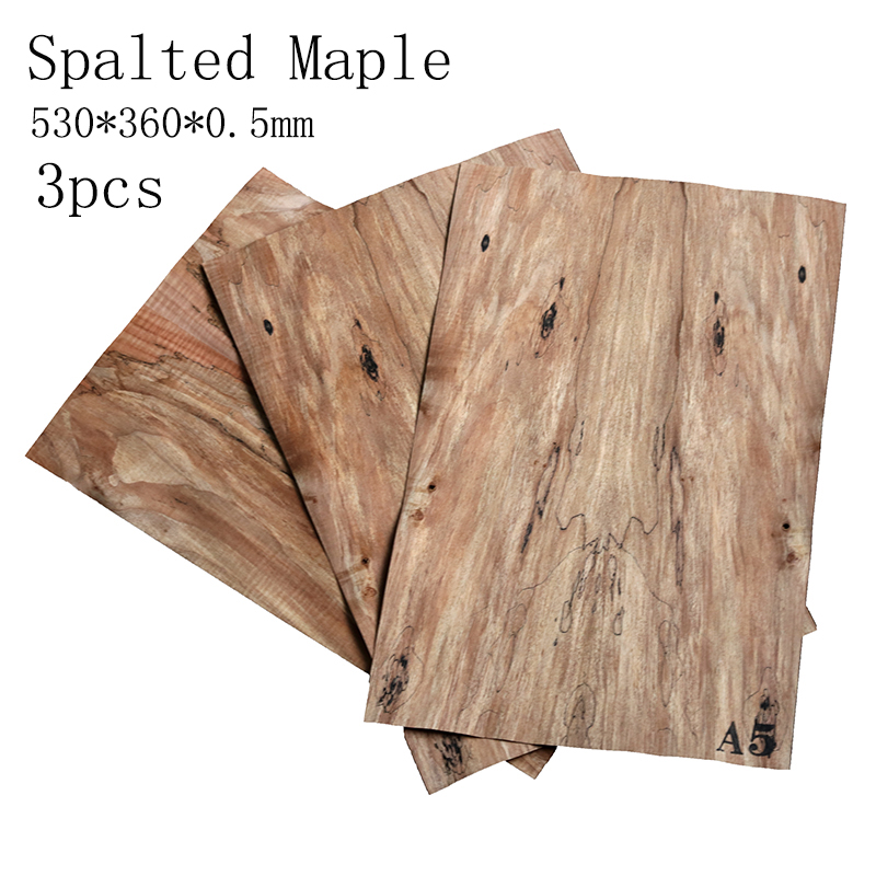 3 Pieces Spalted Maple  Electric Guitar Veneer Guitar Body Veneer Guitar Parts High Quality Guitar Materials 500*360*0.5mm