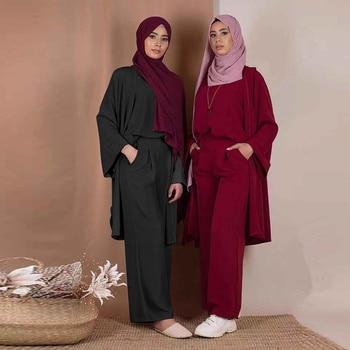 Three piece Abaya Turkish Kimono Tops Pants Muslim Dress Abayas Hijab Robe Dubai Caftan Kaftan