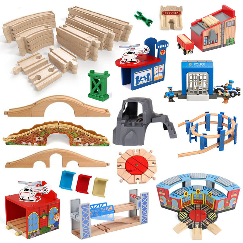 Wooden Train Track Accessories Beech Wooden Railway Train Set Bridge Fit Thomas Wood Track Toys For Kids