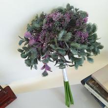 46cm 8pc Artificial Personality Purple Fan Leaf Bunch Silk Cloth Wedding Bouquet Flower Arrangement Vase Home Party Decor Plants seven silk cloth sunflowers in bunch stylish ornaments decorations yellow green