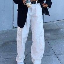 Jeans Vintage Cargo-Pants Pocket Streetwear Harajuku White High-Waist Weekeep Straight