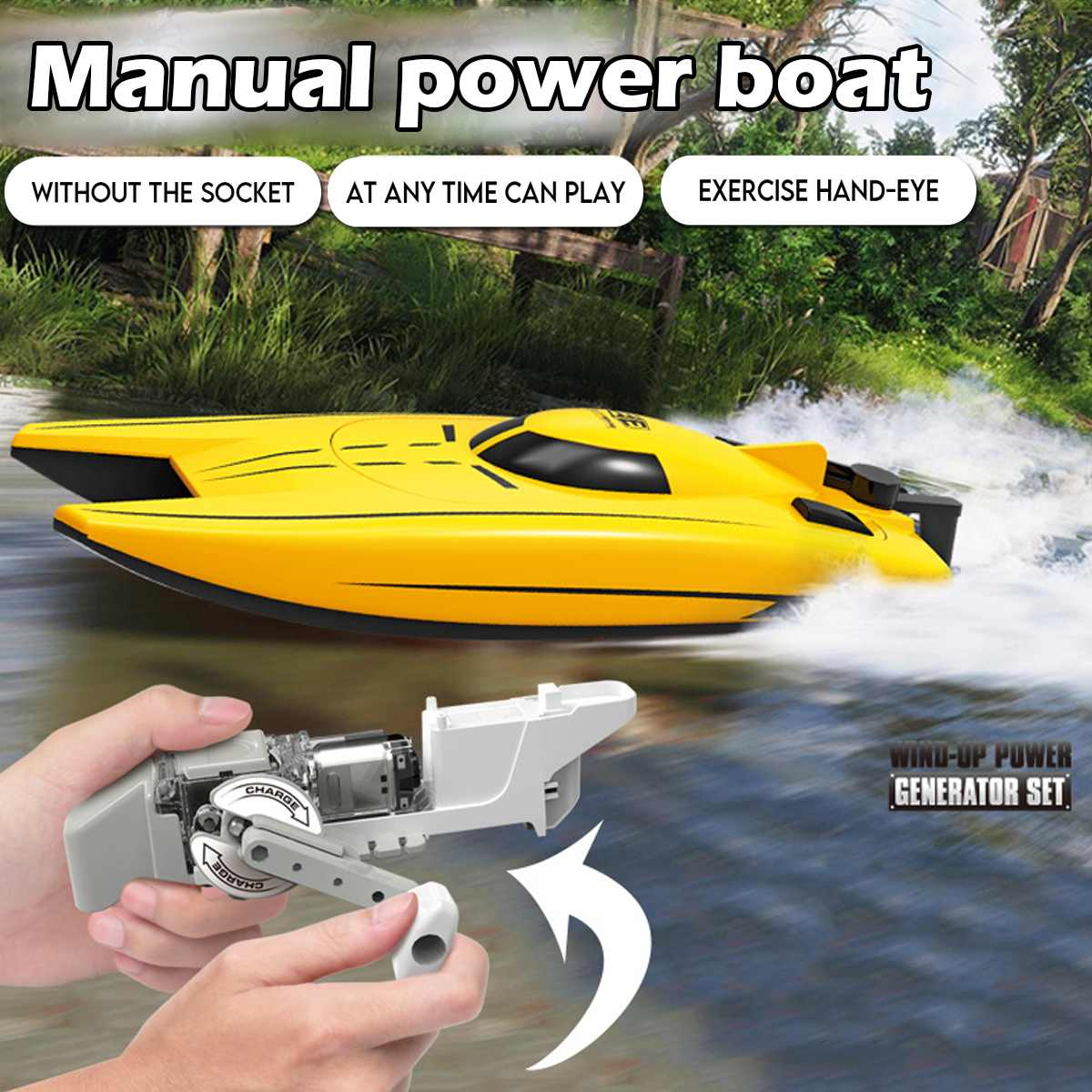 New Hand Crank Boat Car Hand Winch Power Generator Set Kids Car Toy Children Educational Play Toys Birthday Gifts For Kids