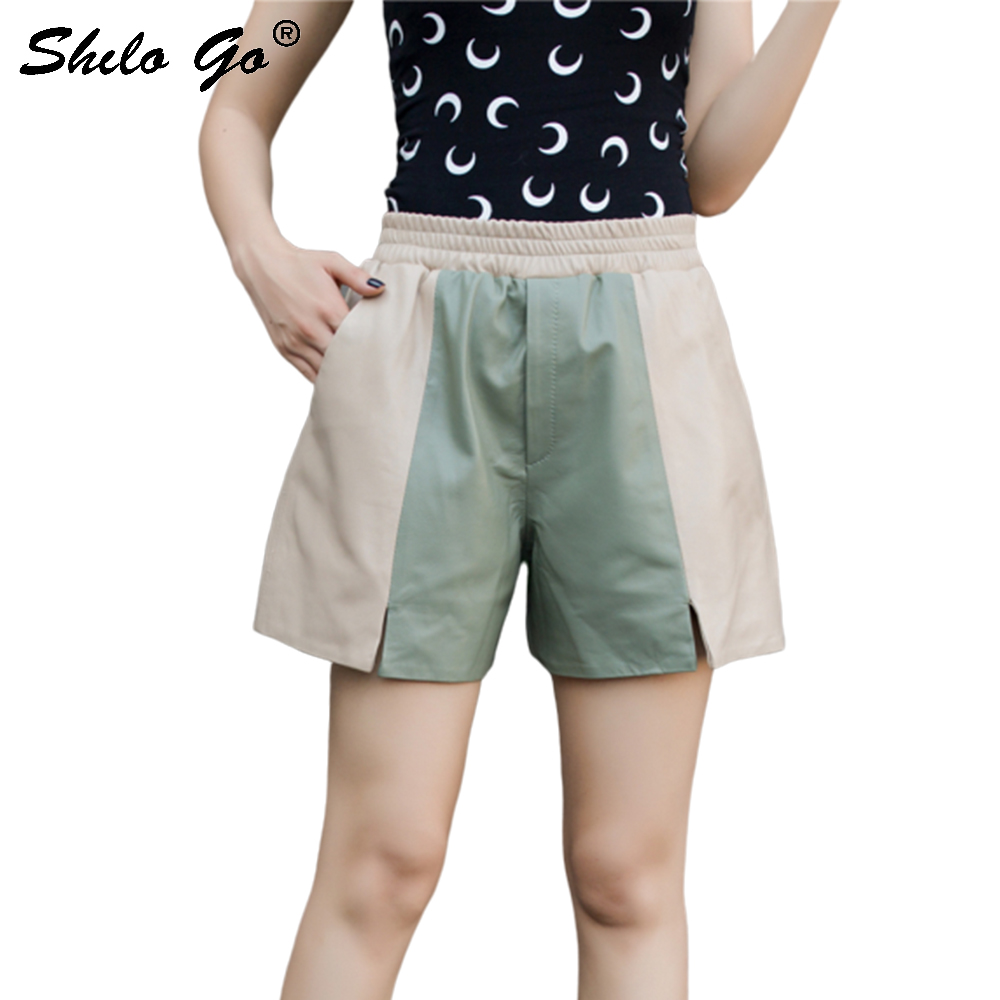 Genuine Leather Shorts Color Block Cut-and-Sew Army Green Panel With Beige Elastic Waist Shorts Women High Waist Slit Hem Shorts