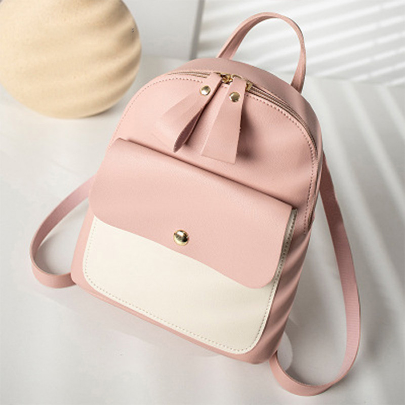 Korean Style Pu Leather Student Backpack Mini Hit Color Backpack Women Casual Travel Rucksack Satchel Ladies Small School Bags