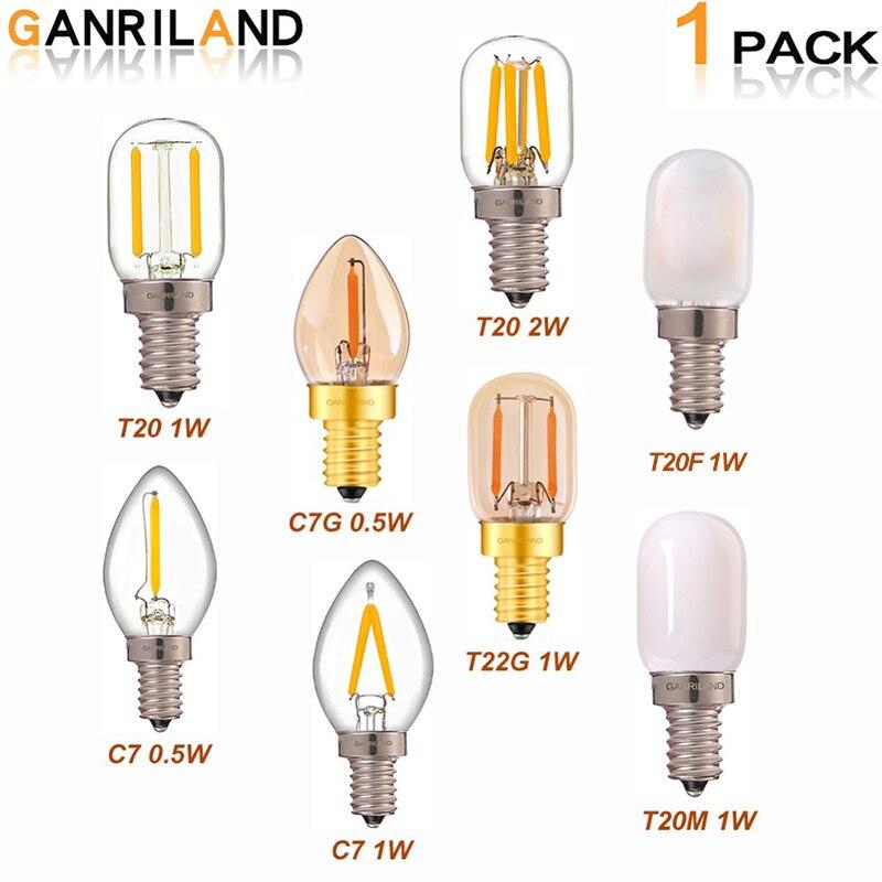 Bombilla Led regulable GANRILAND E14 E12 E14 220 V 0,5 W 1 W 2 W lámpara LED filamento noche lámpara de araña LED bombillas Edison C7 T20 T22