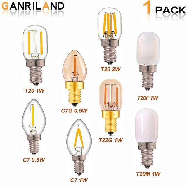 GANRILAND E14 LED Âm Trần Bóng Đèn E12 E14 220 V 0.5 W 1 W ĐÈN LED 2 W Đèn LED Dây Tóc Ban Đêm đèn Treo Pha Lê LED Edison Bóng C7 T20 T22