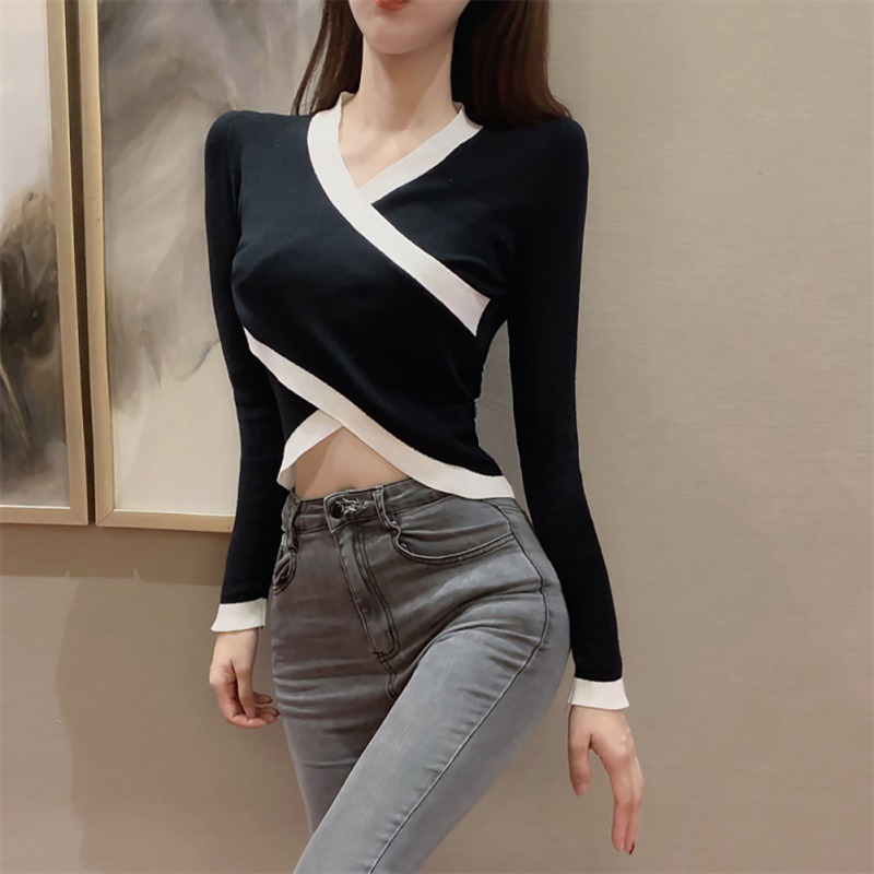 Hot Autumn Women V Collar Cross Fashion Korean Sweet Slim Sweater Solid Color Loose Long-sleeved Knitted Sexy Jumpers