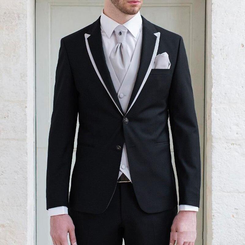 Black Mans Suits For Wedding Custome Made Suits Party Suits Business Suits Dinner Suits Three Pieces Suits(Jacket+Pants+Vest)
